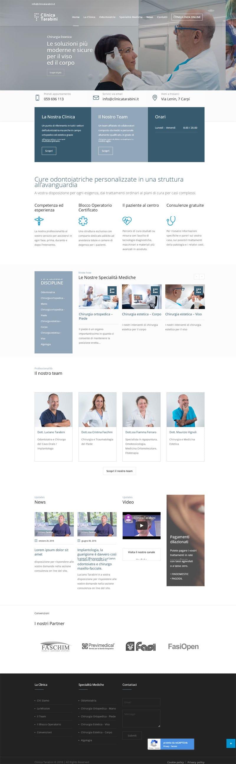 Screenshot nuovo sito Clinica Tarabini